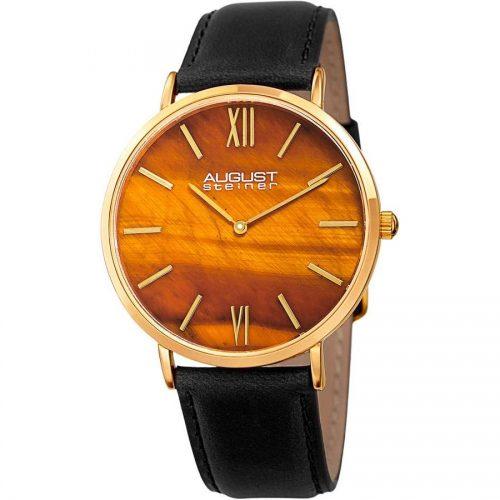 August Steiner Men's Genuine Tiger Eye Stone Dial Watch