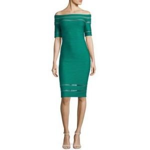 Tadashi Shoji Off-the-Shoulder Sheer Insert Ottoman Cocktail Dress