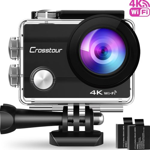 Crosstour Action Camera 4K 16MP Wifi Underwater 30M with Remote Control IP68 Waterproof Case (4K Wi-Fi)
