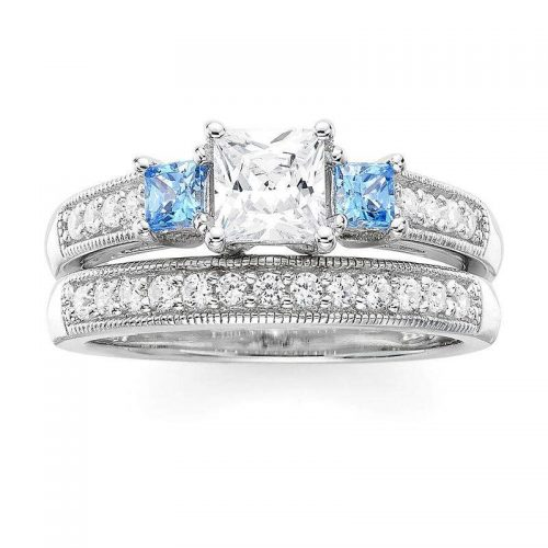 FINE JEWELRY DiamonArt White and Blue Cubic Zirconia ziedas