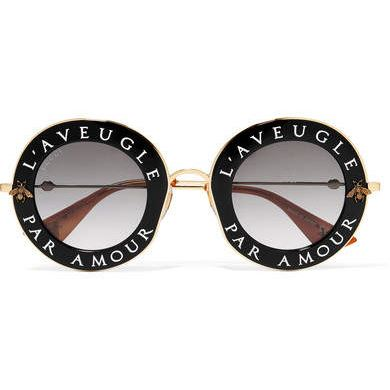 Gucci - Printed Round-frame Acetate And Gold-tone Sunglasses - Black
