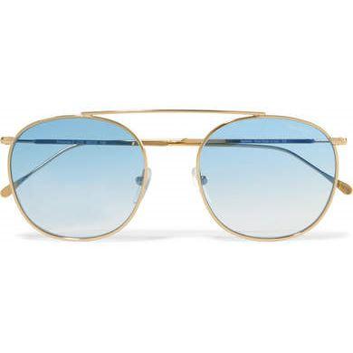 Illesteva - Mykonos Ii Square-frame Gold-tone Sunglasses - Blue