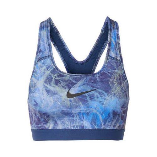 Nike - Classic Printed Dri-fit Stretch Sports Bra - Blue sportine liemenele