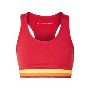 Perfect Moment - Cutout Striped Stretch Sports Bra - Red sportine liemenele