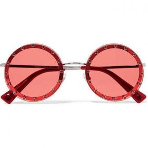 Valentino - Crystal-embellished Round-frame Acetate Sunglasses - Red