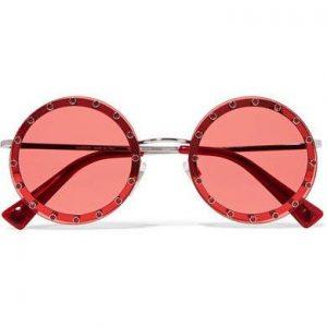 Valentino - Crystal-embellished Round-frame Acetate Sunglasses - Red