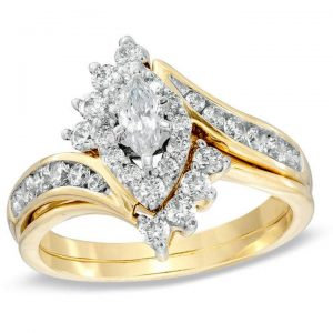 Zales 1 CT. T.W. Marquise Diamond Bypass Bridal Set in 14K Gold ziedas