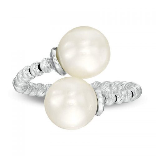 Zales Cultured Freshwater Pearl and Brilliance Bead Bypass Ring ziedas