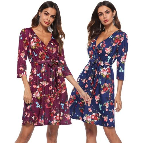 ¾ Sleeve Floral Front Tie Dress