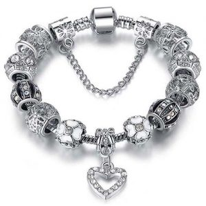 18-Karat Gold-Plated Crystal Heart Charm Bracelet