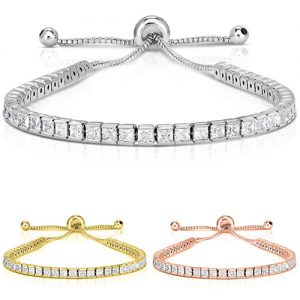 18K Gold-Plated Princess-Cut Crystal Tennis Bracelet