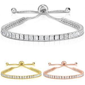 18K Gold-Plated Princess-Cut Crystal Tennis Bracelet