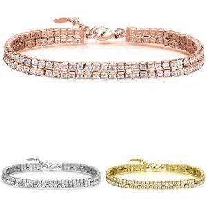 18k Gold Plated 2 Row Princess Cut Crystal Tennis Bracelet