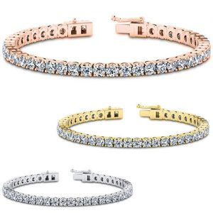 18k White Gold Plated Round Cut Crystal Tennis Bracelet