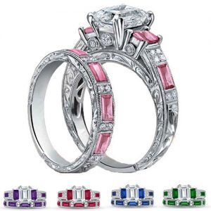 2 Piece 18k White Gold Plated Emerald Cut Engraved Ring And Band Set