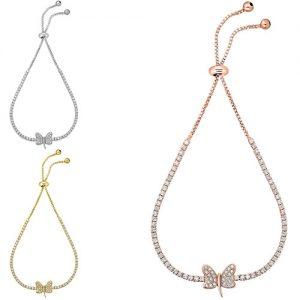 Adjustable 18K White Gold Plated Crystal Dragonfly Tennis Bracelets