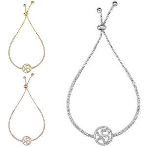 Adjustable 18K White Gold plated Crystal Heart Tennis Bracelets