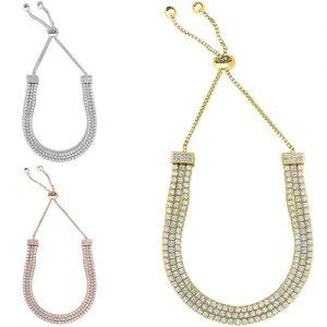 Adjustable 18k Gold Plated 3 Row Swarovski Elements Crystal Tennis Bracelet