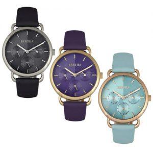 Bertha Gwen Stainless Steel Leather Belt Watch