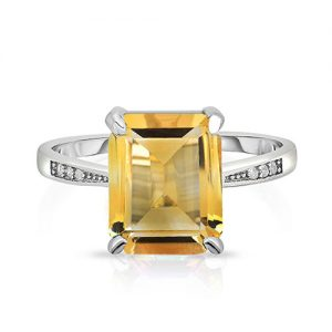 4.00 CTTW Genuine Citrine Gemstone Sterling Silver Ring