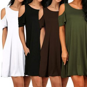 Cold Shoulder Cotton Dress