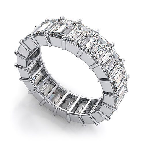 Emerald Cut Cubic Zirconia Eternity Band