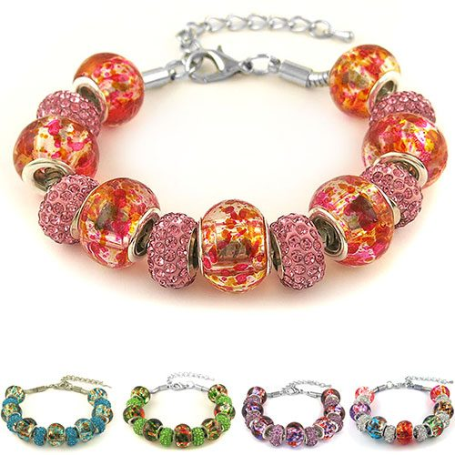 Genuine Murano Glass and Crystal Charm Bracelets