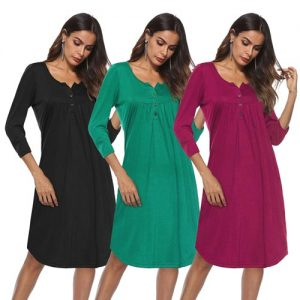 Long Sleeve Solid Henley Dress