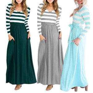 Long Sleeve Stripe Top Maxi Dress