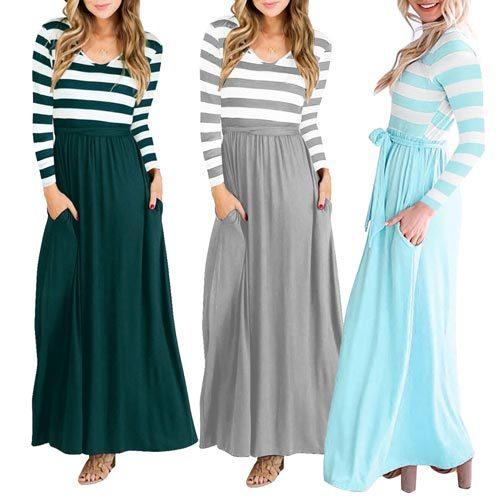 Long Sleeve Stripe Top Maxi Dress