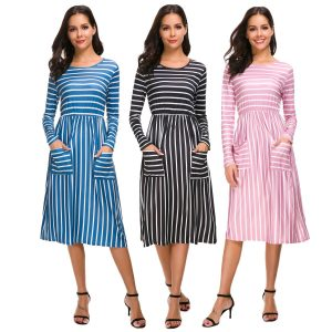 Long Sleeve Striped Front Pocket Dress