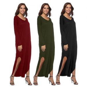 Loose Solid Maxi Dress with Side Slits