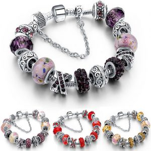 Murano Glass and Crystal Charm Bracelet Made