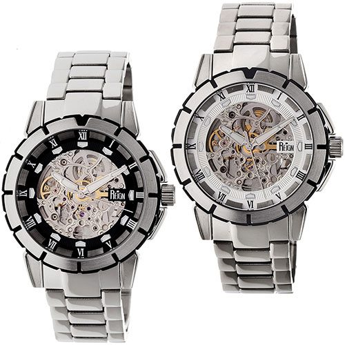 Reign Philippe Automatic Skeleton Bracelet Watch Stainless Steel