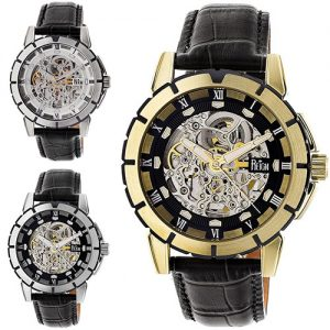 Reign Philippe Automatic Skeleton Leather-Band Watch Leather