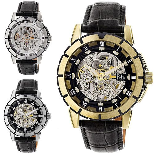 14cebe825 Reign Philippe Automatic Skeleton Leather-Band Watch Leather ...