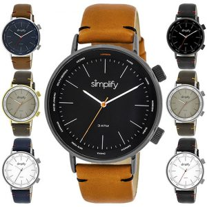 Simplify The 3300 Leather-Band Watch