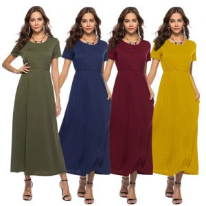 Women's Short Sleeve Solid Maxi Dress