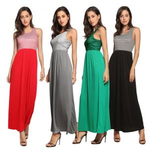 Women's Stripe Top Maxi Dress